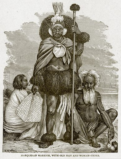 Marquesan Warrior, with Old Man and Woman--Types. Illustration from With the World's People by John Clark Ridpath (Clark E Ridpath, 1912).