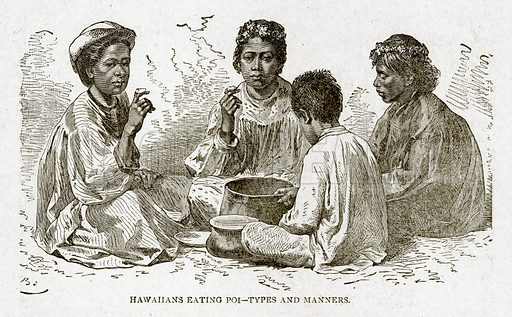 Hawahans eating Poi – Types and Manners. Illustration from With the World's People by John Clark Ridpath (Clark E Ridpath, 1912).