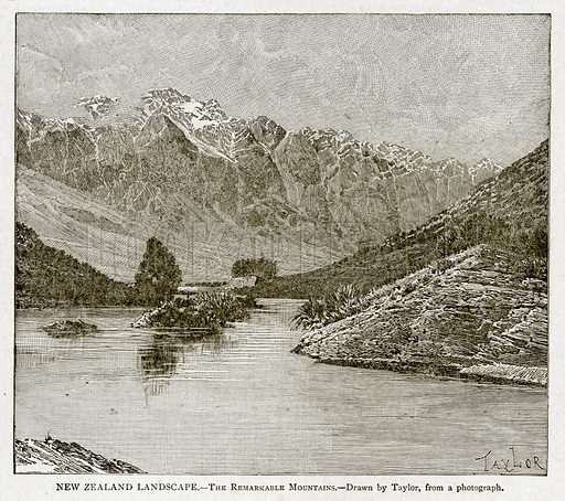 New Zealand Lanscape. – The Remarkable Mountains. Illustration from With the World's People by John Clark Ridpath (Clark E Ridpath, 1912).