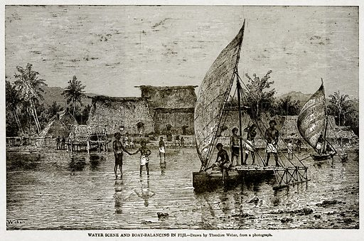 Water Scene and Boat-Balancing in Fiji. Illustration from With the World's People by John Clark Ridpath (Clark E Ridpath, 1912).