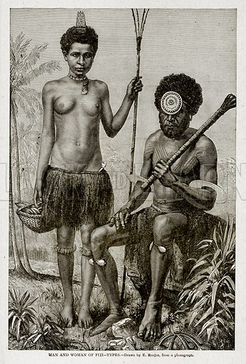 Man and Woman of Fiji--Types. Illustration from With the World's People by John Clark Ridpath (Clark E Ridpath, 1912).