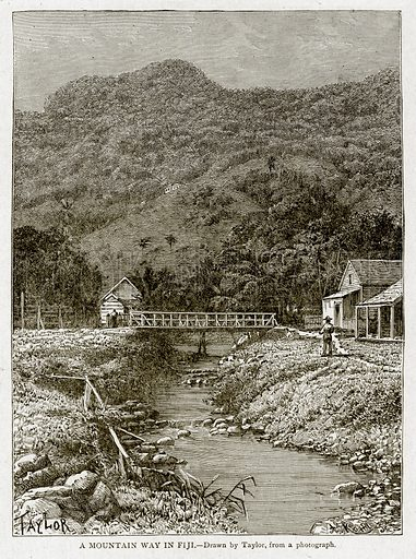 A Mountain Way in Fiji. Illustration from With the World's People by John Clark Ridpath (Clark E Ridpath, 1912).