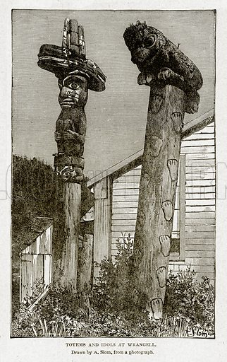 Totems and Idols at Wrangell. Illustration from With the World's People by John Clark Ridpath (Clark E Ridpath, 1912).