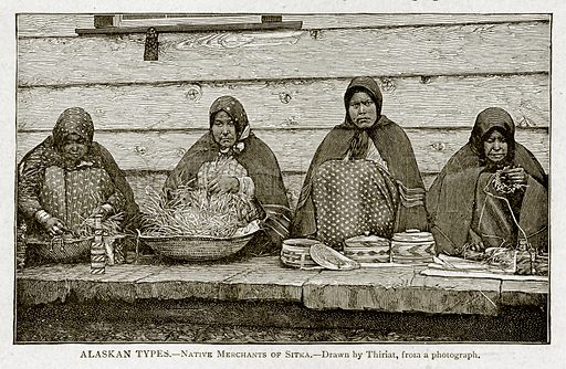 Alaksan Types. – Native Merchants of Sitka. Illustration from With the World's People by John Clark Ridpath (Clark E Ridpath, 1912).