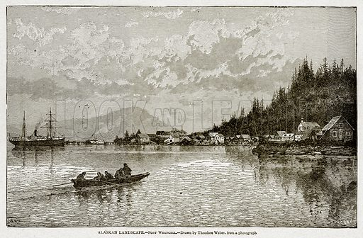 Alaskan Landscape. – Fort Wrangell. Illustration from With the World's People by John Clark Ridpath (Clark E Ridpath, 1912).
