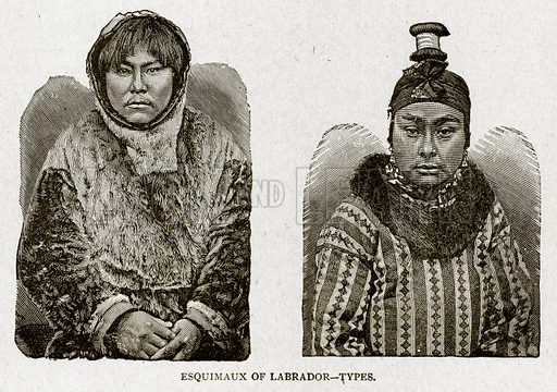 Esquimaux of Labrador--Types. Illustration from With the World's People by John Clark Ridpath (Clark E Ridpath, 1912).