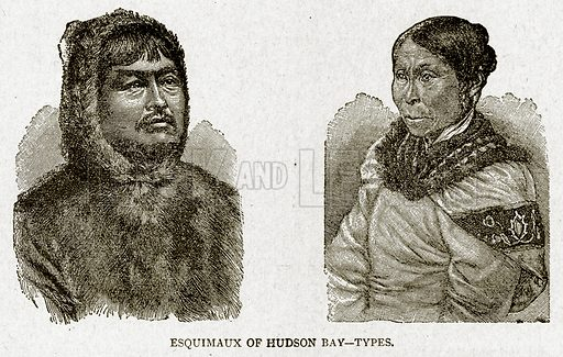 Esquimaux of Hudson Bay – Types. Illustration from With the World's People by John Clark Ridpath (Clark E Ridpath, 1912).