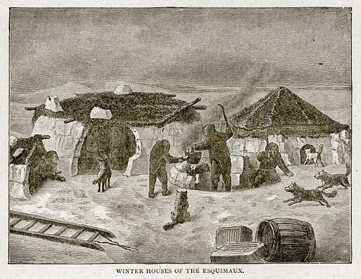 Winter Houses of the Esouimaux. Illustration from With the World's People by John Clark Ridpath (Clark E Ridpath, 1912).