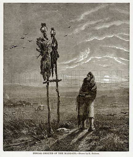 Burial Ground of the Mandans. Illustration from With the World's People by John Clark Ridpath (Clark E Ridpath, 1912).