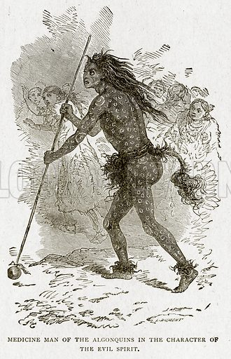 Medicine Man of the Algonquins in the Character of the Evil Spirit. Illustration from With the World's People by John Clark Ridpath (Clark E Ridpath, 1912).