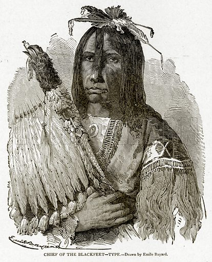 Chief of the Blackfeet – Type. Illustration from With the World's People by John Clark Ridpath (Clark E Ridpath, 1912).