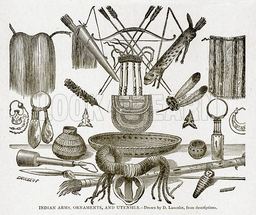 Indian Arms, Ornaments, and Utensils. Illustration from With the World's People by John Clark Ridpath (Clark E Ridpath, 1912).