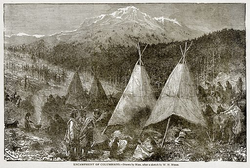 Encampment of Columbians. Illustration from With the World's People by John Clark Ridpath (Clark E Ridpath, 1912).