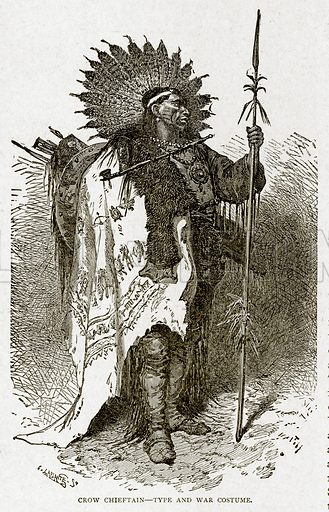 Crow Chieftain--Type and War Costume. Illustration from With the World's People by John Clark Ridpath (Clark E Ridpath, 1912).