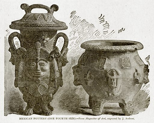 Mexican Pottery (one fourth size). Illustration from With the World's People by John Clark Ridpath (Clark E Ridpath, 1912).