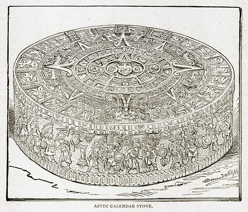 Aztec Callendar Stone. Illustration from With the World