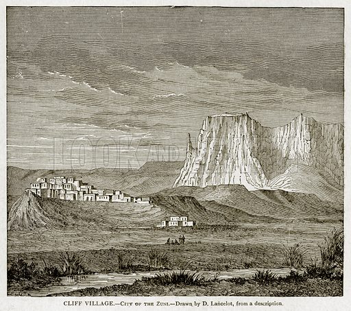 Cliff Village.--City of the Zuni. Illustration from With the World's People by John Clark Ridpath (Clark E Ridpath, 1912).