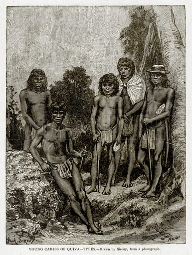 Young Caribs of Quiva--Types. Illustration from With the World's People by John Clark Ridpath (Clark E Ridpath, 1912).