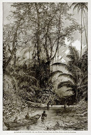 Guianan Landscape.--On the Upper Yaoue. Illustration from With the World's People by John Clark Ridpath (Clark E Ridpath, 1912).