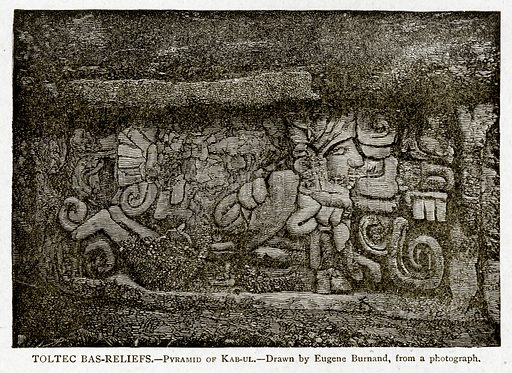 Toltec Bas-Reliefs. – Pyramid of Kab-ul. Illustration from With the World's People by John Clark Ridpath (Clark E Ridpath, 1912).