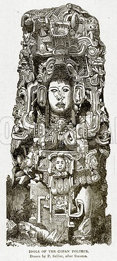 Idols of the Copan Toltecs. Illustration from With the World's People by John Clark Ridpath (Clark E Ridpath, 1912).