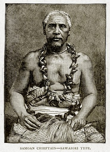 Samoan Chieftain--Sawaiori Type. Illustration from With the World's People by John Clark Ridpath (Clark E Ridpath, 1912).