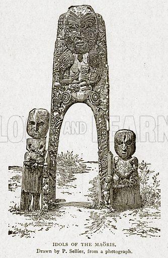 Idols of the Maoris. Illustration from With the World's People by John Clark Ridpath (Clark E Ridpath, 1912).