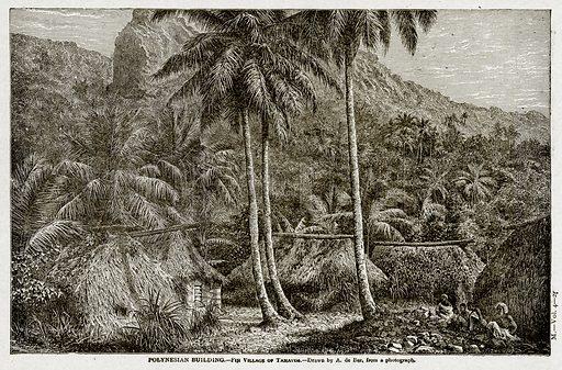Polynesian Building.--Fiji Village of Tamavua. Illustration from With the World's People by John Clark Ridpath (Clark E Ridpath, 1912).
