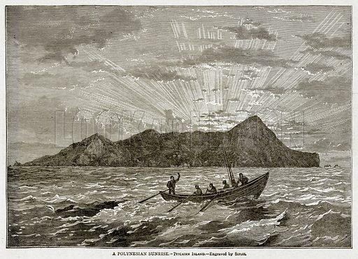 A Polynesian Sunrise.--Pitcairn Island. Illustration from With the World's People by John Clark Ridpath (Clark E Ridpath, 1912).
