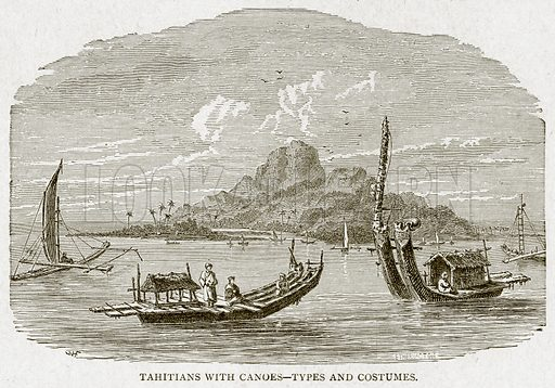 Tahitians with Canoes--Types and Costumes. Illustration from With the World