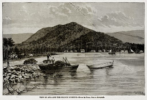 View of Apia the French Missions. Illustration from With the World's People by John Clark Ridpath (Clark E Ridpath, 1912).