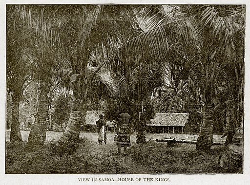View in Samoa--House of the Kings. Illustration from With the World's People by John Clark Ridpath (Clark E Ridpath, 1912).