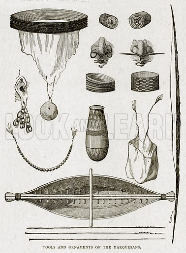 Tools and Ornaments of the Marquesans. Illustration from With the World's People by John Clark Ridpath (Clark E Ridpath, 1912).