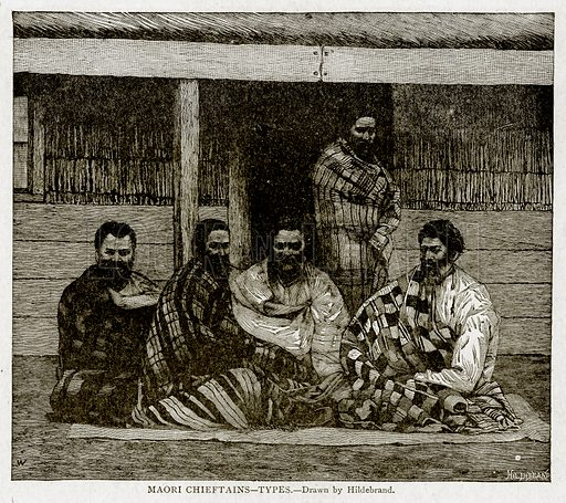 Maori Chieftains--Types. Illustration from With the World's People by John Clark Ridpath (Clark E Ridpath, 1912).