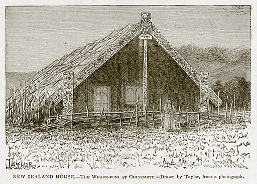 New Zealand House. – The Whare-Puni at Ohinemetu. Illustration from With the World's People by John Clark Ridpath (Clark E Ridpath, 1912).
