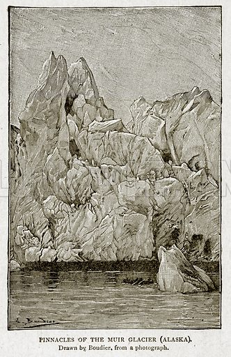 Pinnacles of the Muir Glacier (Alaska). Illustration from With the World