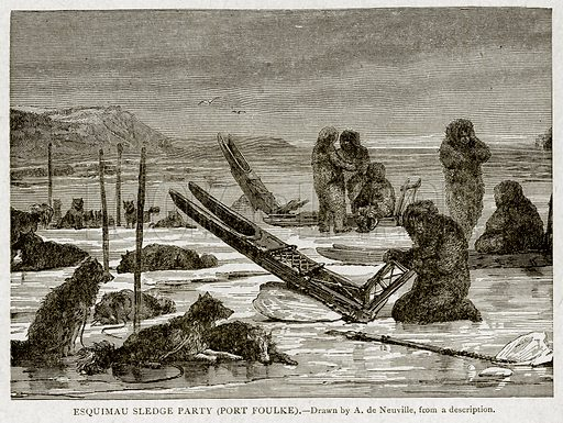 Esquimau Sledge Party (Port Foulke). Illustration from With the World's People by John Clark Ridpath (Clark E Ridpath, 1912).