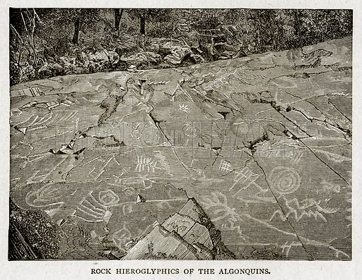 Rock Hierogyphics of the Algonquins. Illustration from With the World