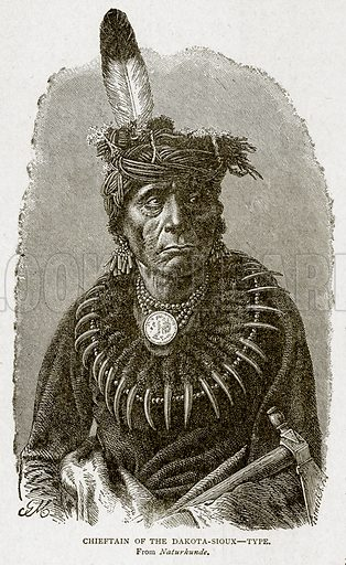 Chieftain of the Dakota-Sioux – Type. Illustration from With the World's People by John Clark Ridpath (Clark E Ridpath, 1912).