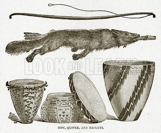 Bow, Quiver, and Baskets. Illustration from With the World's People by John Clark Ridpath (Clark E Ridpath, 1912).
