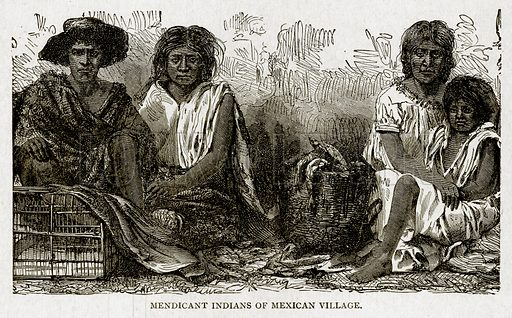 Mendicant Indians of Mexican Village. Illustration from With the World's People by John Clark Ridpath (Clark E Ridpath, 1912).