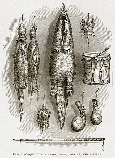 East Algonquin Tobacco Bags, Whistle, and Rattles. Illustration from With the World's People by John Clark Ridpath (Clark E Ridpath, 1912).