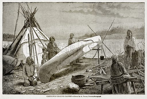 Chippewas making Canoes. Illustration from With the World's People by John Clark Ridpath (Clark E Ridpath, 1912).