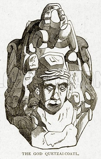 The God Quetzaicoatl. Illustration from With the World's People by John Clark Ridpath (Clark E Ridpath, 1912).