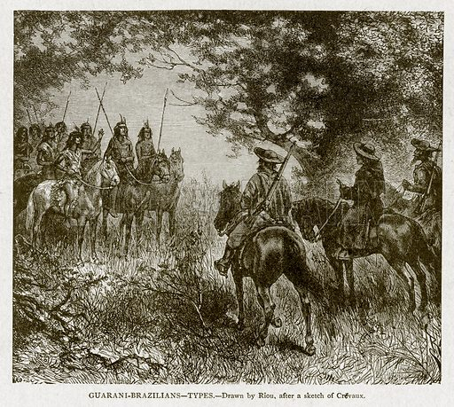 Guarani-Brazilians--Types. Illustration from With the World's People by John Clark Ridpath (Clark E Ridpath, 1912).