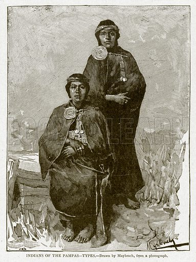 Indians of the Pampas--Types. Illustration from With the World's People by John Clark Ridpath (Clark E Ridpath, 1912).