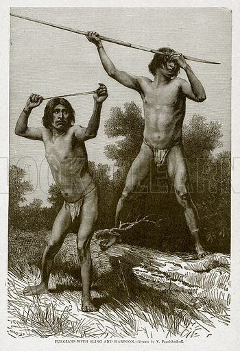 Fuegians with Sling and Harpoon. Illustration from With the World's People by John Clark Ridpath (Clark E Ridpath, 1912).
