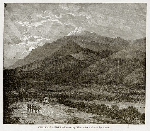 Chilean Andes. Illustration from With the World's People by John Clark Ridpath (Clark E Ridpath, 1912).