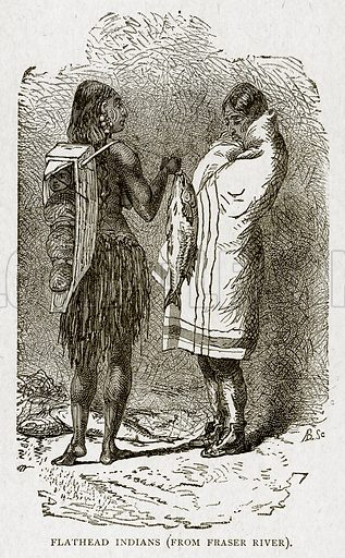 Flathead Indians (from Frser River). Illustration from With the World's People by John Clark Ridpath (Clark E Ridpath, 1912).
