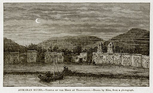 Aymaran Ruins. – Temple of the Moon at Tiahuanuco. Illustration from With the World's People by John Clark Ridpath (Clark E Ridpath, 1912).